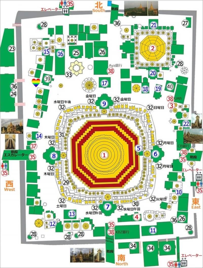 シュエダゴンパゴダの地図